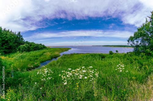 River and marshland on Cape Breton Island along the Celtic Shores walking trail  and near the Atlantic Ocean in rural Nova Scotia, Canada Fototapet
