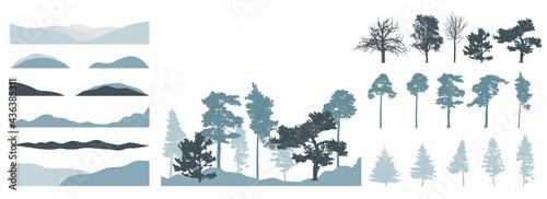 Fotografie, Obraz Design elements of trees, set