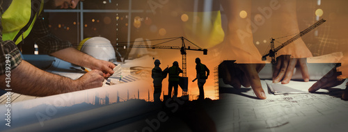 Double exposure of civil engineer silhouette at construction site with building designer working and meeting at night in banner site