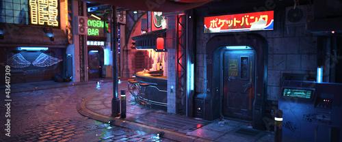 Fotografie, Obraz Futuristic Asia Street at Night. 3D Render