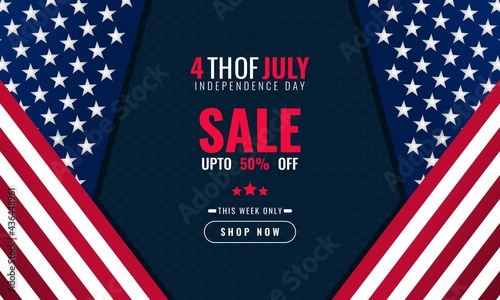 Fotografia 4th of july independence day background sales promotion advertising banner templ