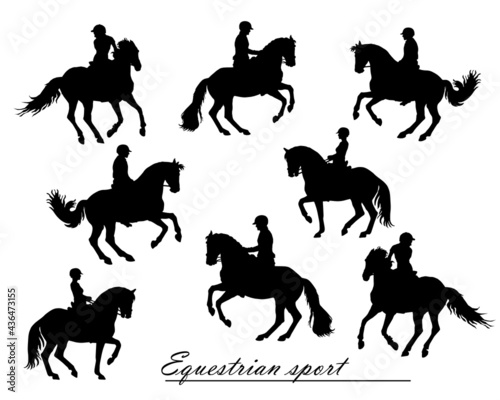 Tablou Canvas set, isolated realistic black silhouettes  riders on a white background