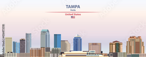 Photo Tampa cityscape on sunset sky background vector illustration with country and ci
