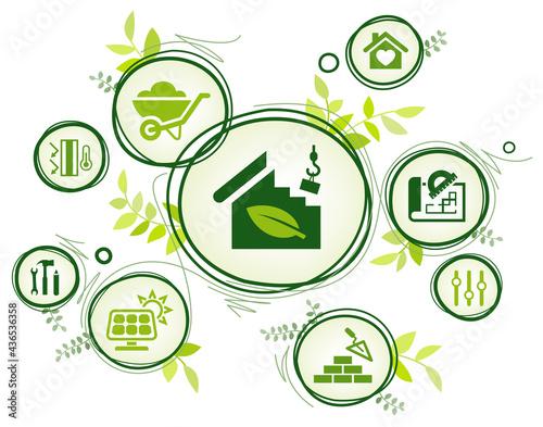 Eco friendly home construction vector illustration Fototapet