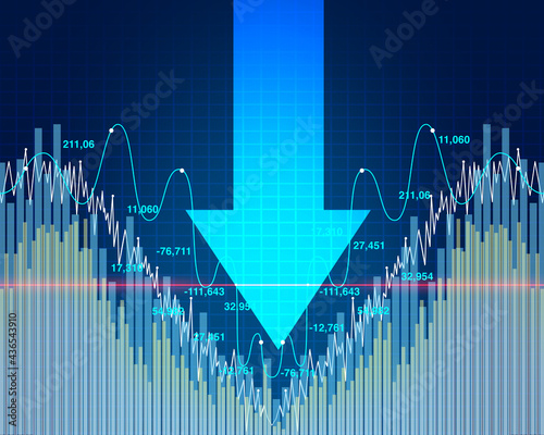 Stock market dip and economy decline or economic fear and financial equity selli Fototapeta