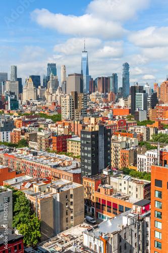 Obraz na plátně New York, New York, USA Lower Manhattan city skyline rooftop view from the Lower