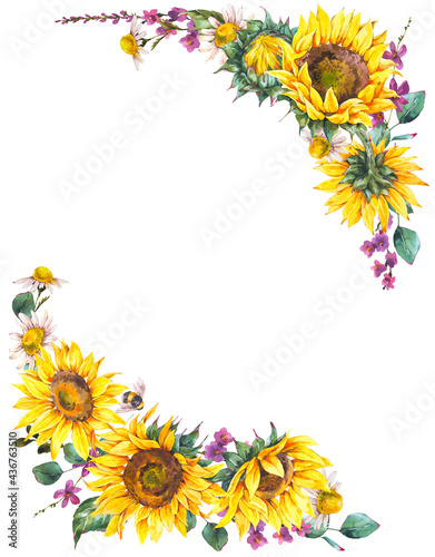 Watercolor sunflowers summer vintage wreath. Natural yellow floral frame