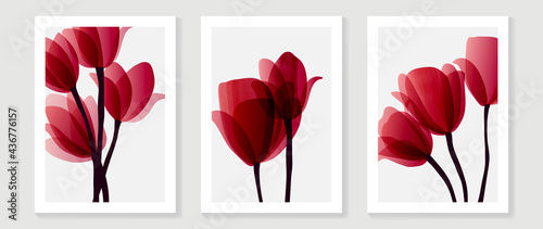 Canvas Print Red tulips abstract background vector