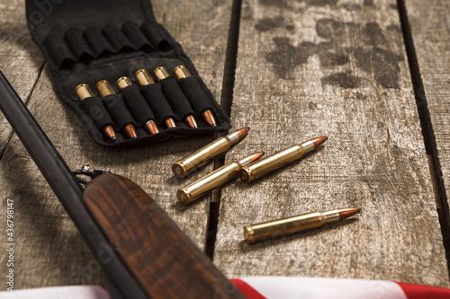 Close up of cartridges for hunting shotgun Fototapeta