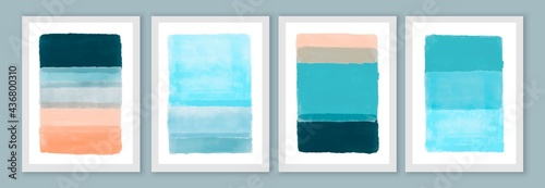 Abstract hand painted wall art posters, brochure, cover backgrounds. Blue and peach colors.