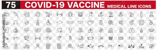 Fotografie, Obraz Set of Coronavirus and Vaccine line icons, covid19, Medical mask, health, contag
