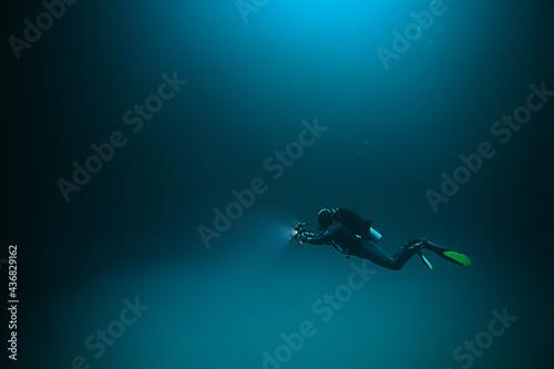 Tablou Canvas cenote angelita, mexico, cave diving, extreme adventure underwater, landscape un