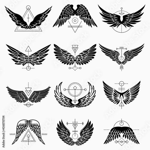 Slika na platnu Wings Tattoo With Geometric Abstract Lines
