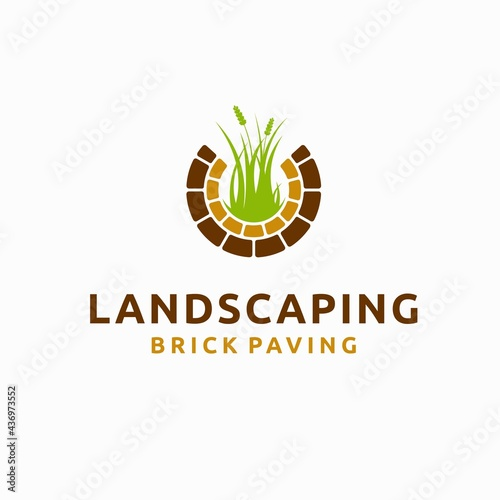 Photo Landscaping logo with brick paving concept