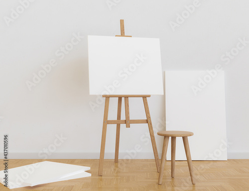 Fotografiet art studio with easel and canvas