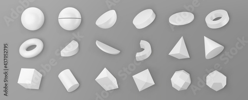 3d render white geometric shapes objects set isolated on grey background. White realistic primitives - sphere, pyramid, torus, cone with shadows. Abstract decorative vector figure for trendy design