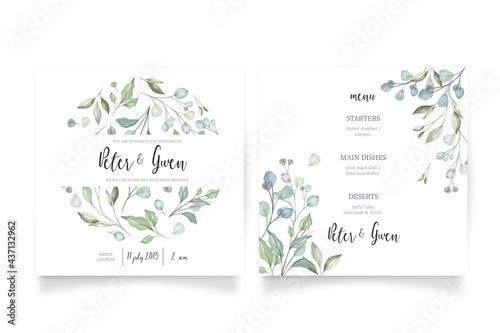 Canvas Print floral wedding invitation with menu template design vector illustration