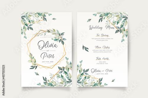 Canvas Print wedding invitation menu template with beautiful leaves design vector illustratio
