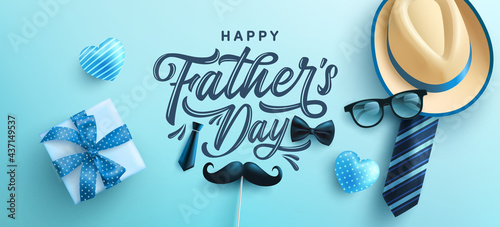 Fotografia Father's Day poster or banner template with hat,necktie and gift box on blue background