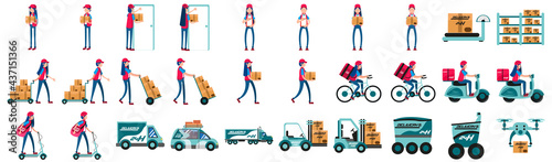 Obraz na plátně Group of different delivery related icons