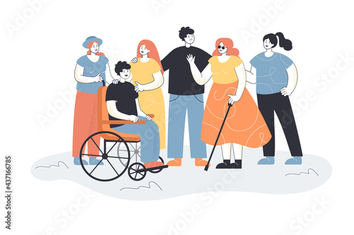 Tablou Canvas Men and women welcoming people with disabilities
