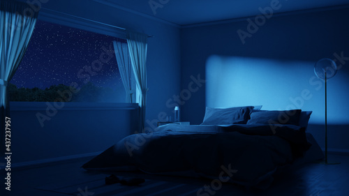 3d rendering of bedroom with cozy low bed at night with starry sky