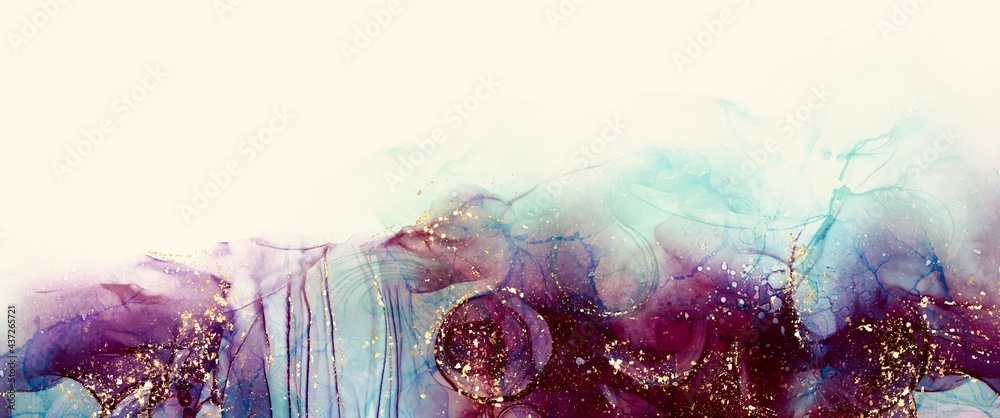 Soft abstract alcohol ink background, modern luxury wallpaper design with purple and blue colour, hand drawn art with white copy space