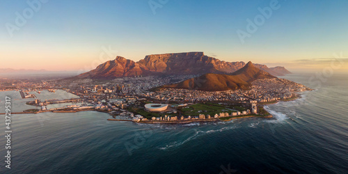 Fototapeta premium Aerial panoramic view of Cape Town cityscape at sunset, Western Cape Province, South Africa.