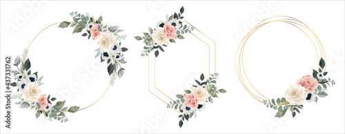 Fotografering Flower Frame Watercolor Vector set