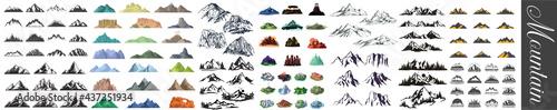 Photographie Mountain icons set, Mountain Peaks, Snowy Mountain Peaks, Mountains and Hills, R