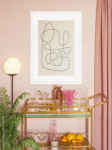 3d render of a modern brass ans pink mini bar trolley cart with glasses, drinks, Fototapeta