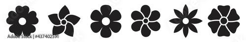 Valokuva Flower icon set, black Flower isolated on white, vector illustration