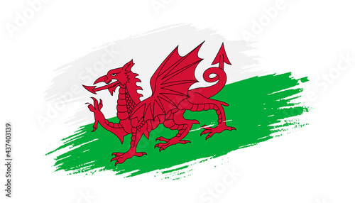 Fotografie, Obraz Patriotic of Wales flag in brush stroke effect on white background