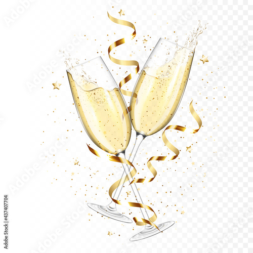 Transparent realistic two glasses of champagne with ribbons and confetti, isolated Tapéta, Fotótapéta