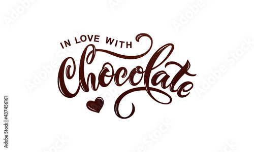 Foto In love with chocolate handwritten text isolated on white background for  World Chocolate Day