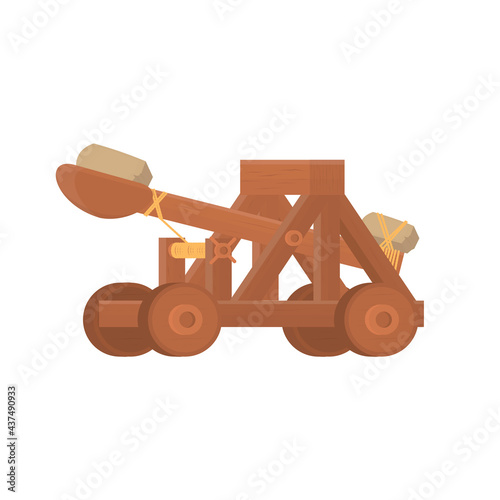 Photo Catapult. Medieval catapult weapon, vector illustration