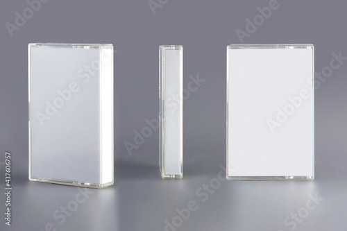 Obraz na plátne Blank compact cassette tape box design mockup, front profil side view