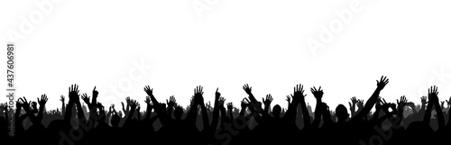 Hands at the concert, silhouettes against stage lighting. Isolated on white background.