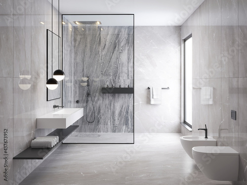 Fotografia 3d rendering of a grey minimal stone bathroom with a shower cabin and a toilet