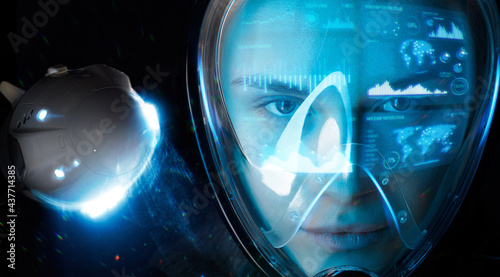 Fotografie, Tablou Double exposure portrait of futuristic astronaut in spacesuit with holographic interface to display data
