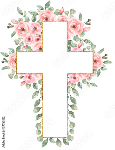 Obraz na płótnie Watercolor Easter Pink flowers Cross Clipart, Delicate Peony Florals Frame Clip