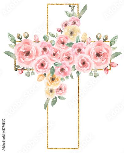 Murais de parede Watercolor Easter Pink flowers Cross Clipart, Golden frame, Delicate Peony Flora