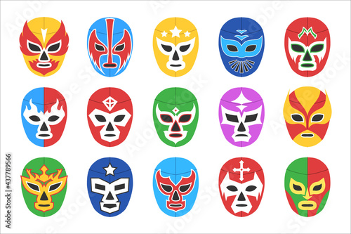 Stampa su Tela Colorful lucha libre mask for wrestling show isolated set