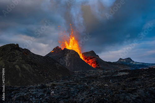 Iceland Volcano Volcanic Eruption with lava at Fagradalsfjall, Reykjanes Peninsula