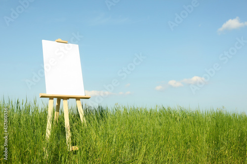 Photo Wooden easel with blank canvas in picturesque green field on sunny day