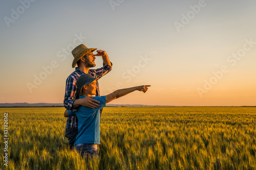 Foto Father and son are standing in their growing wheat field