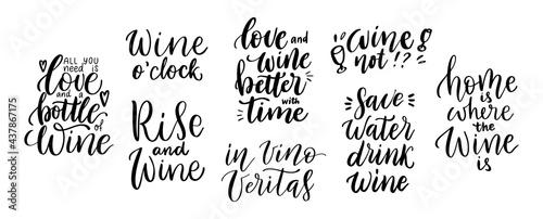 Obraz na plátně Wine vector quote set