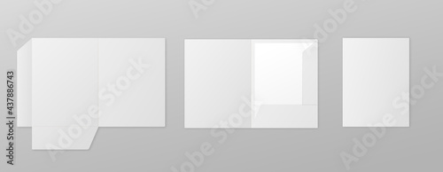 Leinwand Poster Set templates of white paper folders, realistic vector illustration isolated