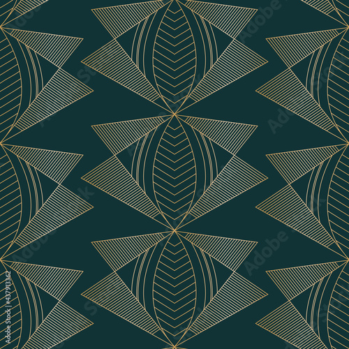 Fotografie, Obraz Vector golden moths art deco dark seamless pattern