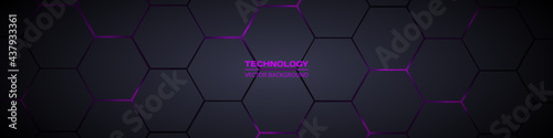 Dark gray and purple horizontal hexagonal technology abstract vector background. Purple bright energy flashes under hexagon in futuristic modern technology wide banner. Dark gray honeycomb texture.
